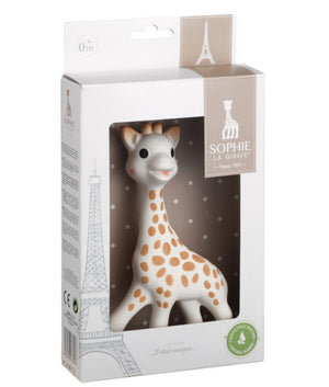 sophie the giraffe sits 7 inches tall and is white with brown spots and hooves and black eyes
