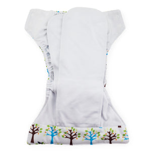 Thirsties Natural All in one diaper on baby, made in the usa, blackbird print