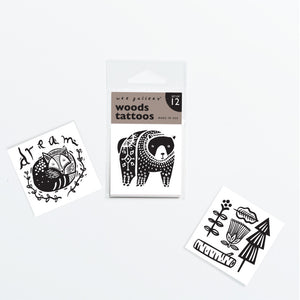 Wee gallery woods tattoo designs of a bear, sleeping fox, and wooded scene, measures 2X2 inches