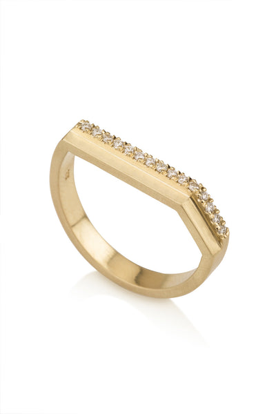 Caroline Ring / Geometric pave diamonds ring