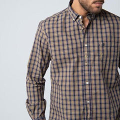 Tartan Shirt with Patches: Yellow/Navy
