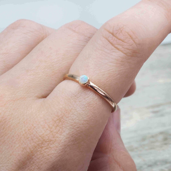 Rose Gold Dainty Opal Ring. Bohemian Gypsy Festival Jewellery. Indie and Harper
