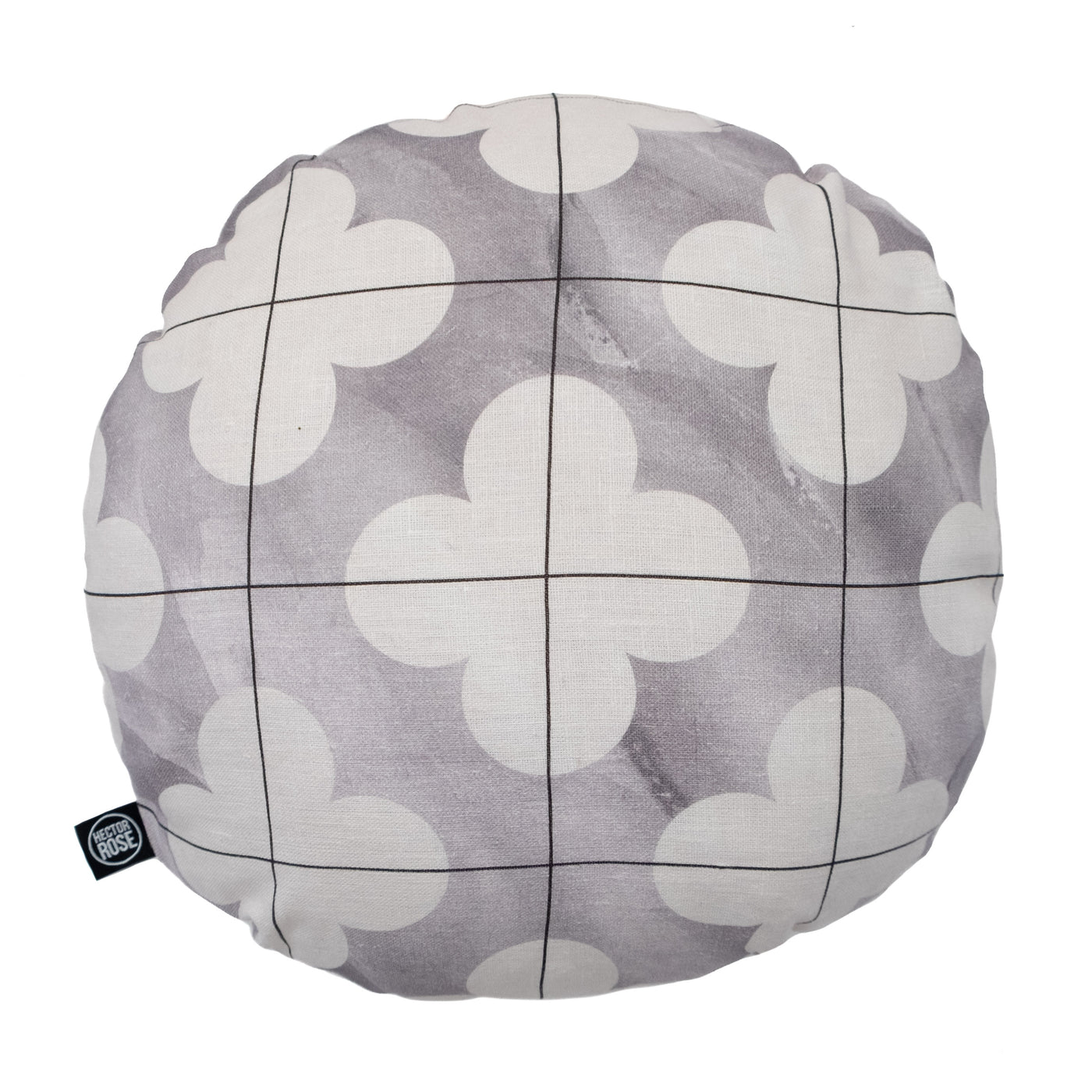 linen cushion cover round moroccan grey