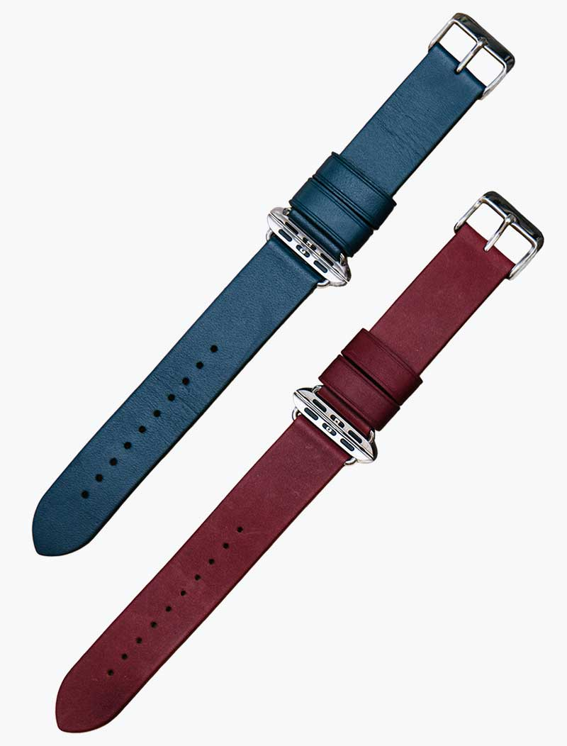 Red and blue Monowear leather bands