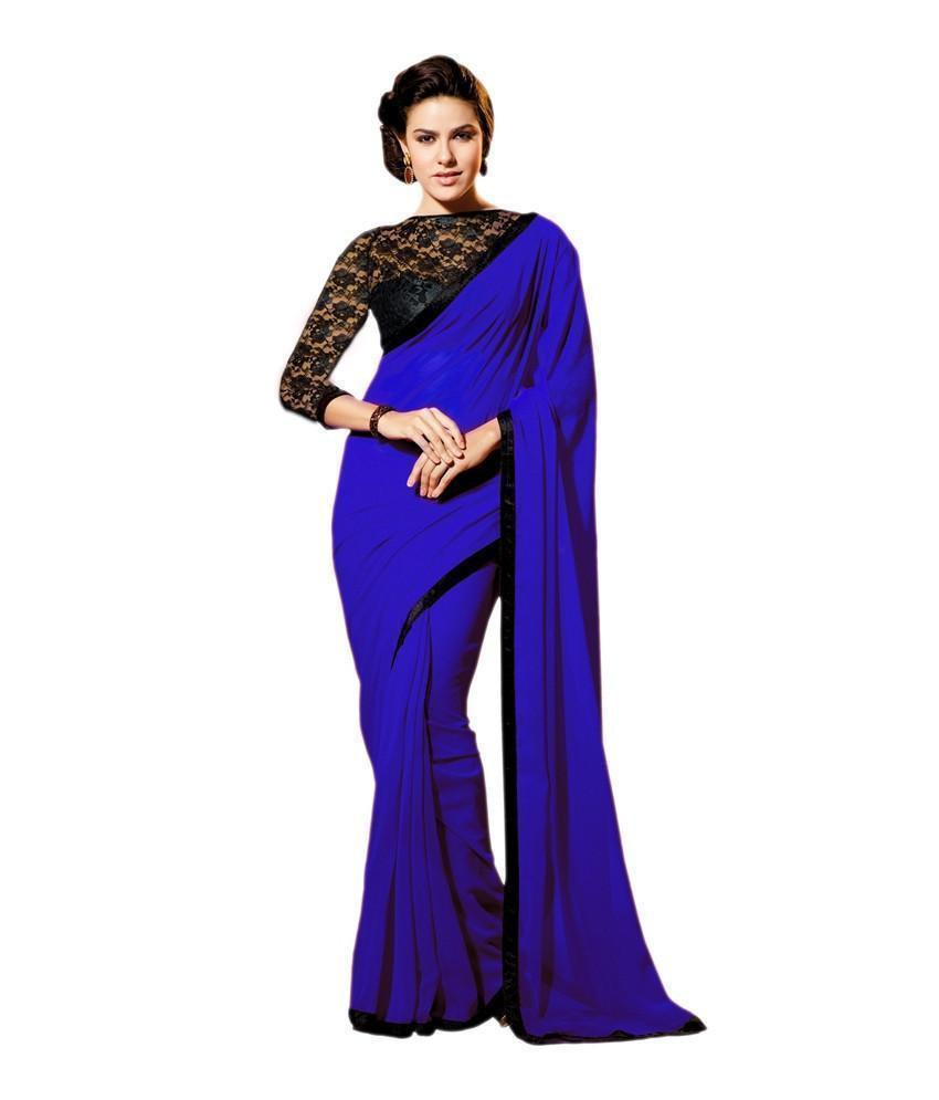 Best Georgette Blue Hotstar Party wear Saree Order Online - Ethnicyug