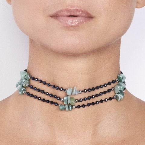 Crystal Choker with Jade Stones