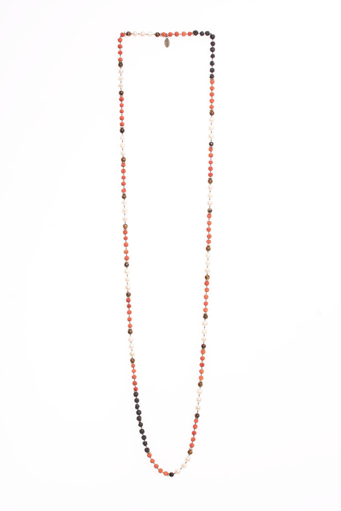 Necklace Shiva Gantiri Seeds Pearls Lava And Tiger Eyes Stones