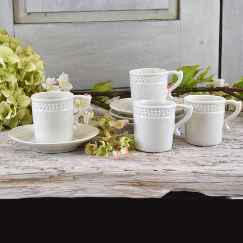 Handmade french espresso cups and saucers