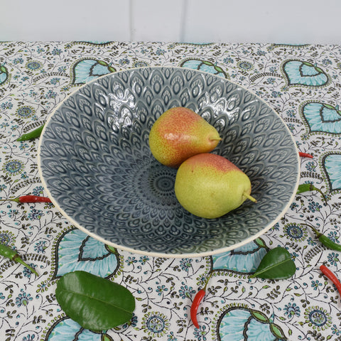Decorative indian grey ceramic serving bowl