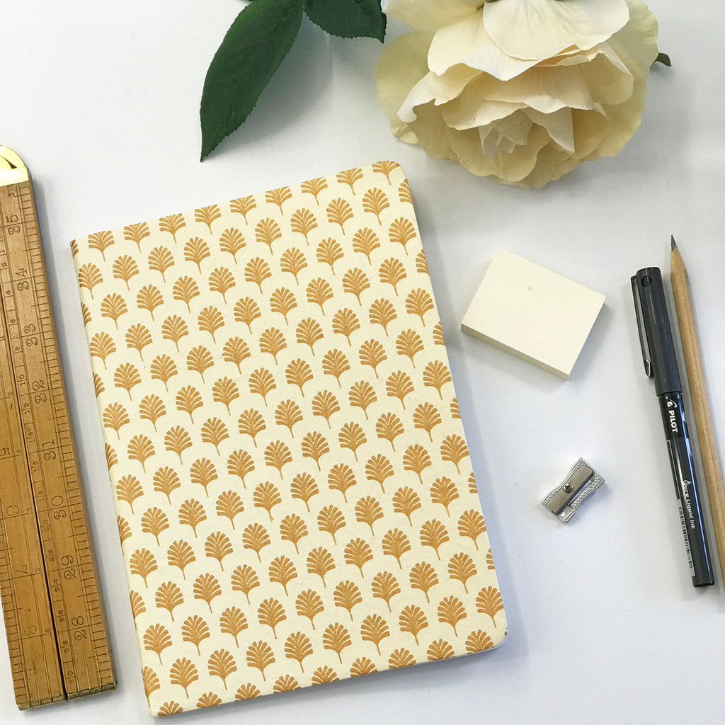 The Bungalow Chavara Gold A5 Notebook. Gold Leaf.