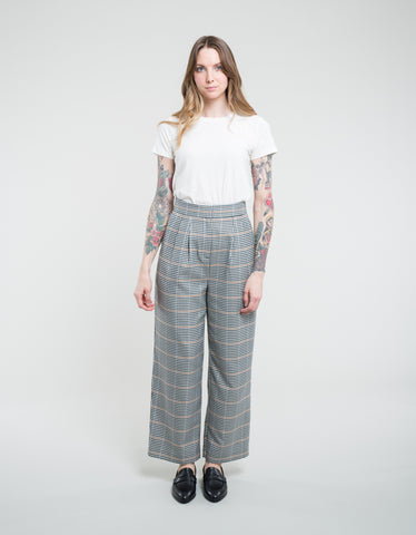 Just Female Holmes Wide Trouser Bright Check