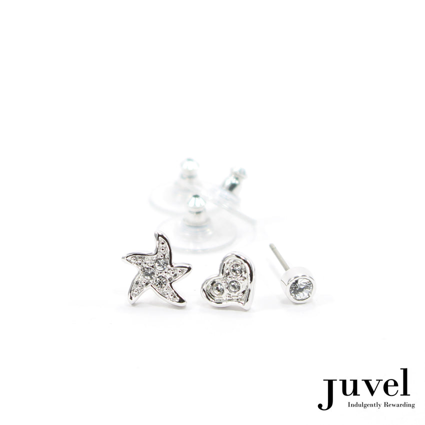 Juvel 3 Pieces SHR Clear Earrings