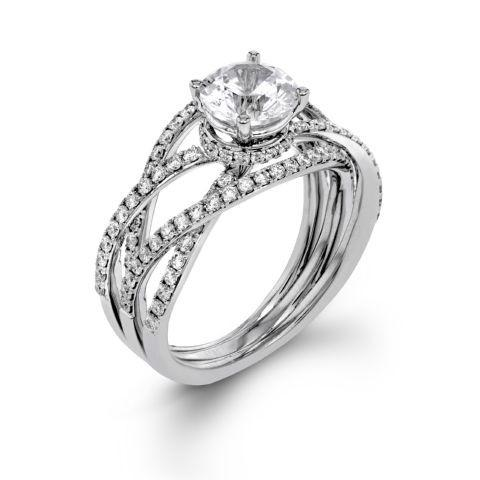 Contemporary Multi Band Solitaire Ring
