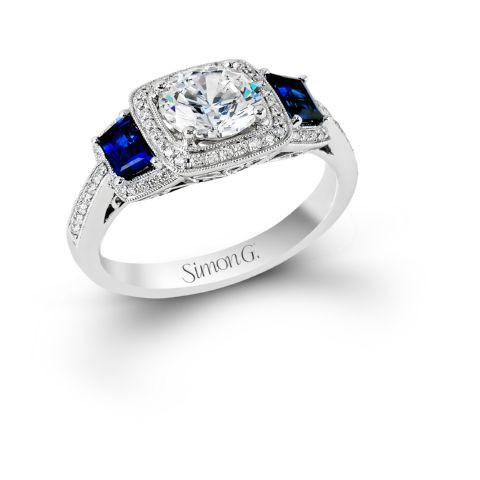 Simon G MR2247-A Cushion halo with Sapphire Shoulder set