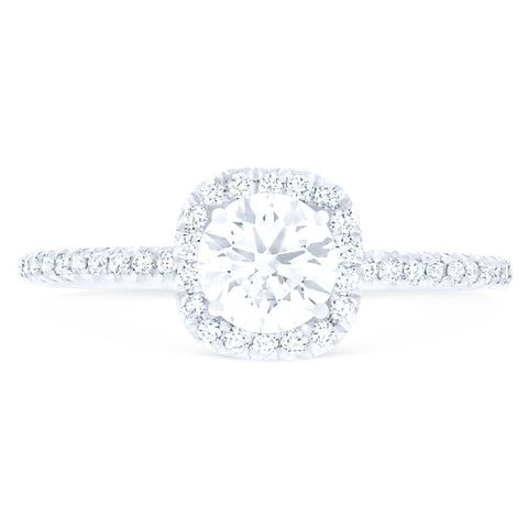 FOREVERMARK™ PETITE CUSHION HALO RING