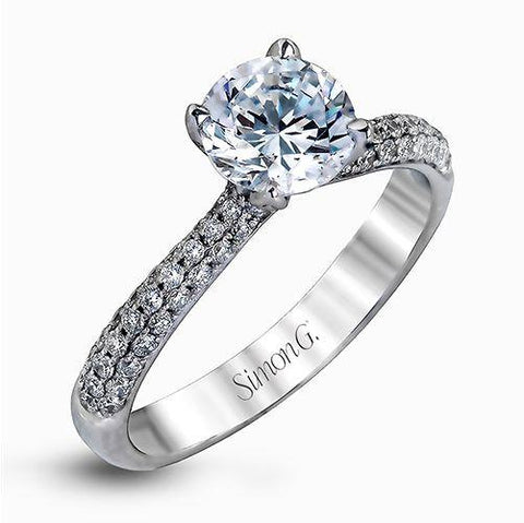 Three Row Pave Set Diamond Ring
