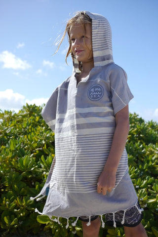 Of One Sea - Kid's Grey Turkish Hooded Poncho Towel - Groms HQ