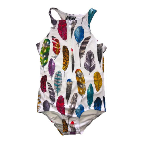 Bobbi Sunshine Swimwear - Feathers - Zip Front Full Piece - Groms HQ