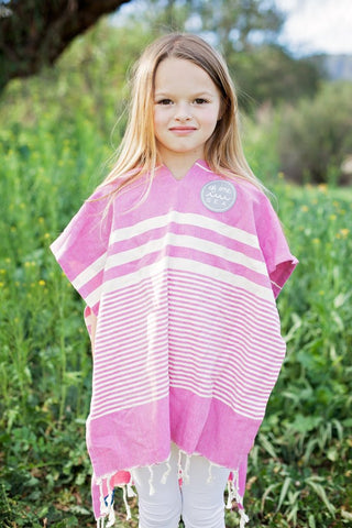 Of One Sea - Kid's Magenta Turkish Hooded Poncho Towel - Groms HQ