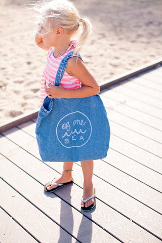 Of One Sea - Denim Tote With Logo In White - Groms HQ