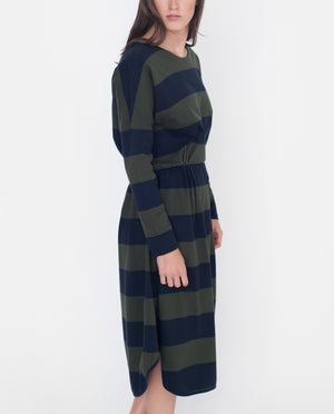 SARAH Organic Cotton Dress In Navy And Green
