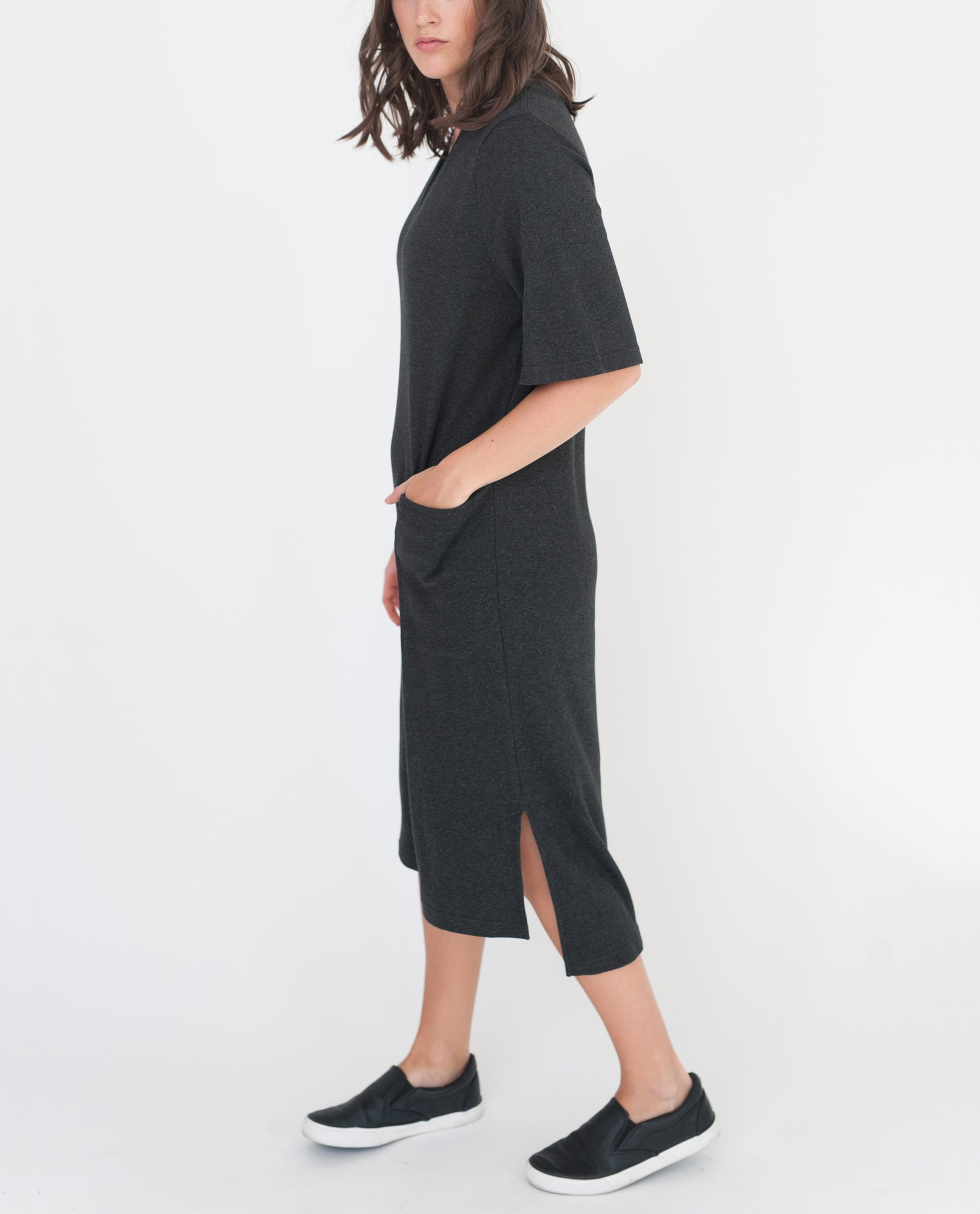 TARA Lyocell And Cotton Dress In Dark Grey