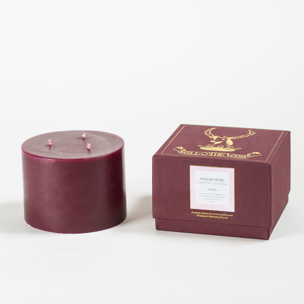 English Rose 3-wick Pillar Candle