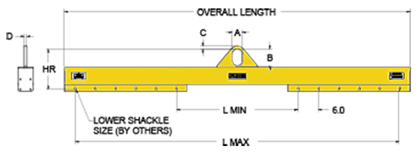 Lifting Beam with low headroom and adjustable