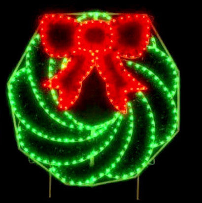 Large 8' Outdoor Christmas Wreath,UV-resistant PVC garland,commercial-grade C7 Lights, large building fronts.