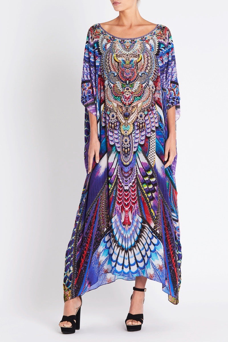 FLY WITHOUT FEATHERS ROUND-NECK LONG KAFTAN