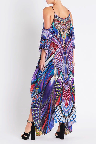 FLY WITHOUT FEATHERS COLD-SHOULDER LONG KAFTAN