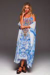 A DAY IN GREECE COLD-SHOULDER LONG KAFTAN