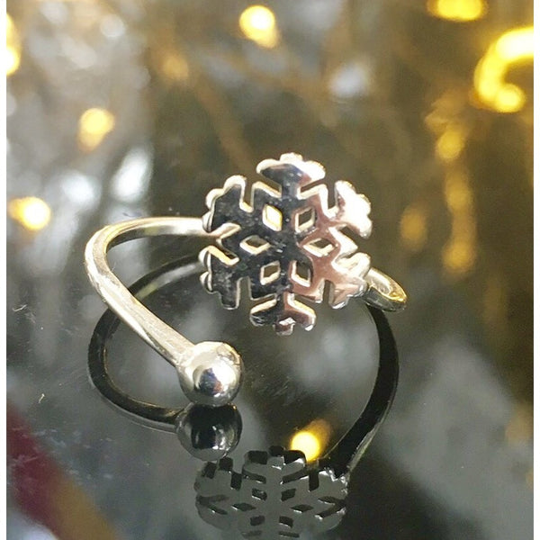 Snowflake Sterling Silver Ring-Women - Jewelry - Rings-Peace + Love +Bling ~ Ethical is Beautiful-The Luxury Upgrade