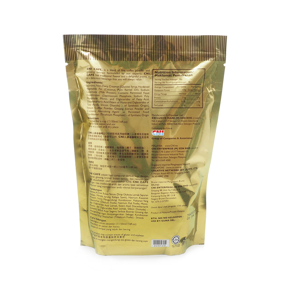 CNI, Premix Coffee, with Ginseng Extract, 20 sachets X 20 g