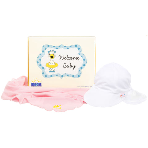 Nozone Baby girl sun safe blanket flap hat gift box pink white