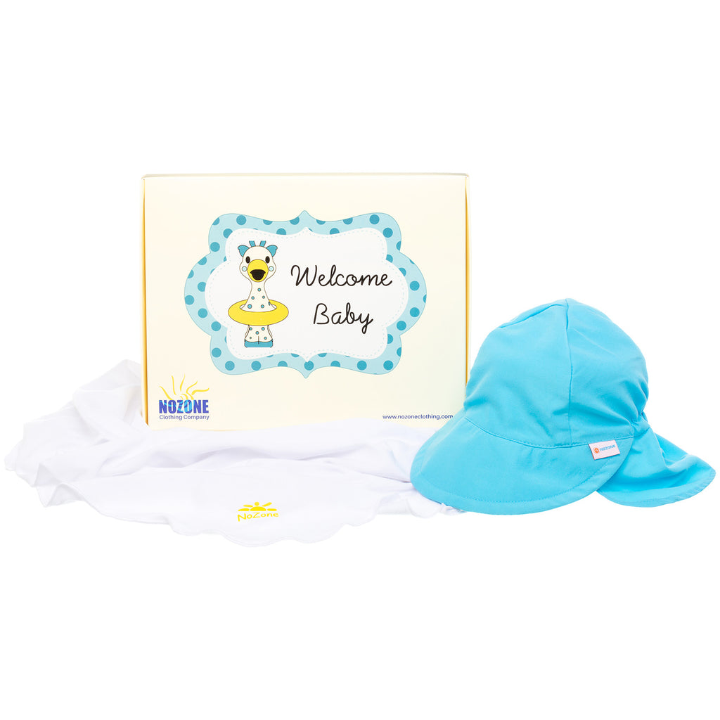 Nozone Baby boy sun blanket flap hat gift box blue white