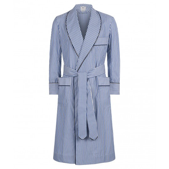 Budd Sleepwear | Exclusive Budd Stripe Cotton Dressing Gown | Edwardian Blue | Budd Shirtmakers | Made in England-Dressing Gown-Sterling-and-Burke