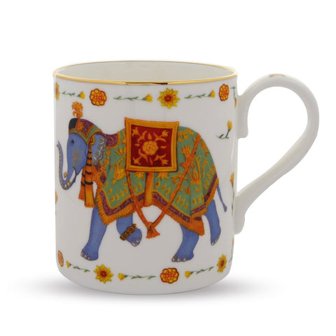 Fine English Bone China | Ceremonial Indian Elephant Mug | White | Halcyon Days | Made in England-Mug-Sterling-and-Burke