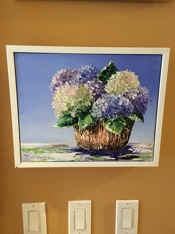 "Art | Summer Hydrangeas | Original Oil Painting by Claire Howard | 8"" x 10""-Oil Painting-Sterling-and-Burke"