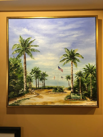 "Art | Welcome to Vanderbilt Beach | Original Oil Painting Framed in Gold by Claire Howard | 31.5"" x 31.5"""
