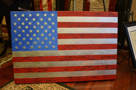 Original America Flag | Original Painting | 25 by 24 Inches | Sue Israel