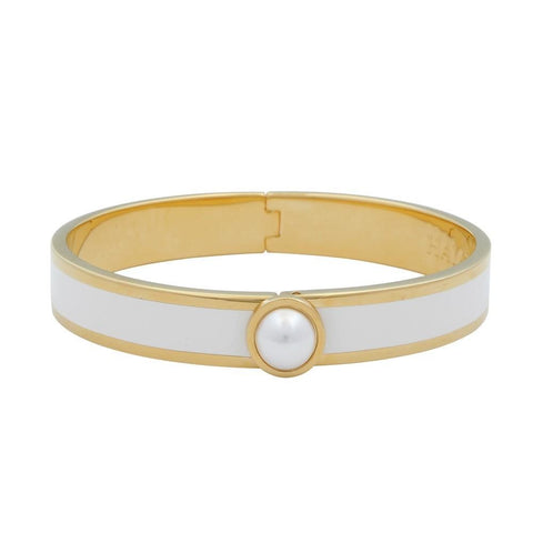 Enamel Bangle | Cabochon Pearl Bangle | Cream and Gold | Halcyon Days | Made in England