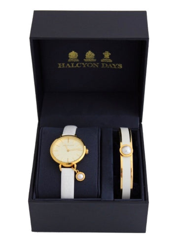 Agama Pearl Charm Leather Strap Ladies Watch and Cabochon Pearl Bangle Set | Cream Enamel on Gold | Halcyon Days | Made in England