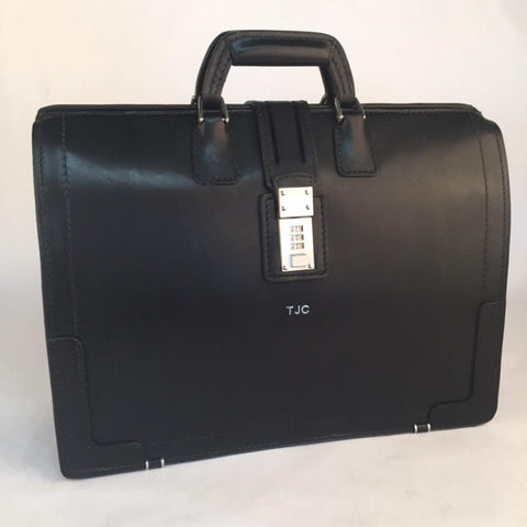 Churchill Briefcase | Classic Top Frame Leather | Korchmar Lawyers Briefcase