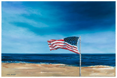Art | From Sea to Shining Sea | Patriotic American Painting | US Flag at the Beach | Original Oil Painting | 24 by 18 Inches | Claire Howard