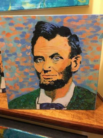 "Art | Abraham Lincoln 16th | Giclee by Sue Israel | 11"" x 11"""