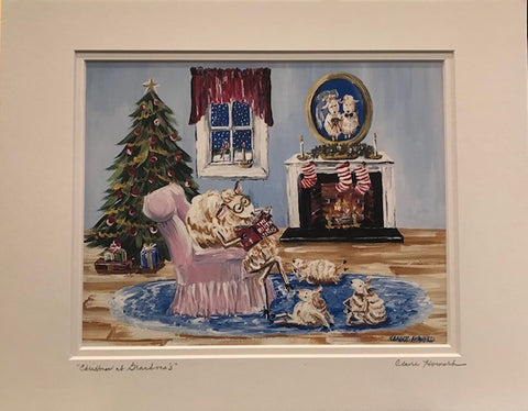 "Art | Christmas at Grandma's | Giclee With Mat Hand Signed by Claire Howard | 11"" x 14"""