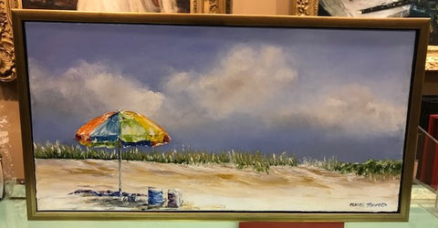 "Art | Just You & Me | Oil Painting Framed in Gold by Claire Howard | 13.5"" x 25.5"""