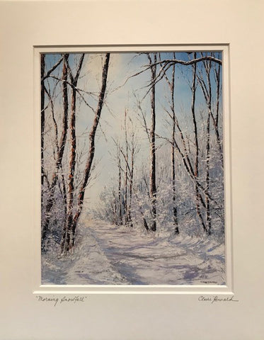 "Art | Morning Snowfall | Giclee with Mat by Claire Howard | 14"" x 11"""