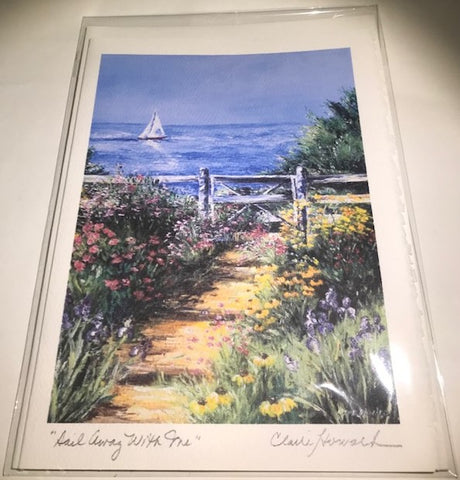 "Art | Sail Away With Me Card | Hand Signed by Claire Howard | Set of Three | 7"" x 5"""